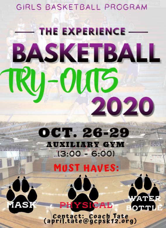 Girls Basketball Tryouts begin Monday, Oct. 26
