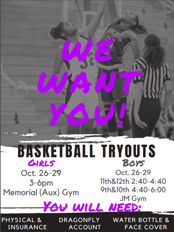Basketball Tryouts Begin Oct. 26