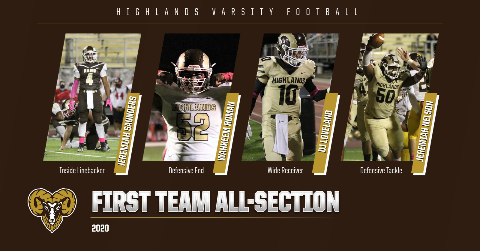 Four Golden Rams Named To All-Section Team