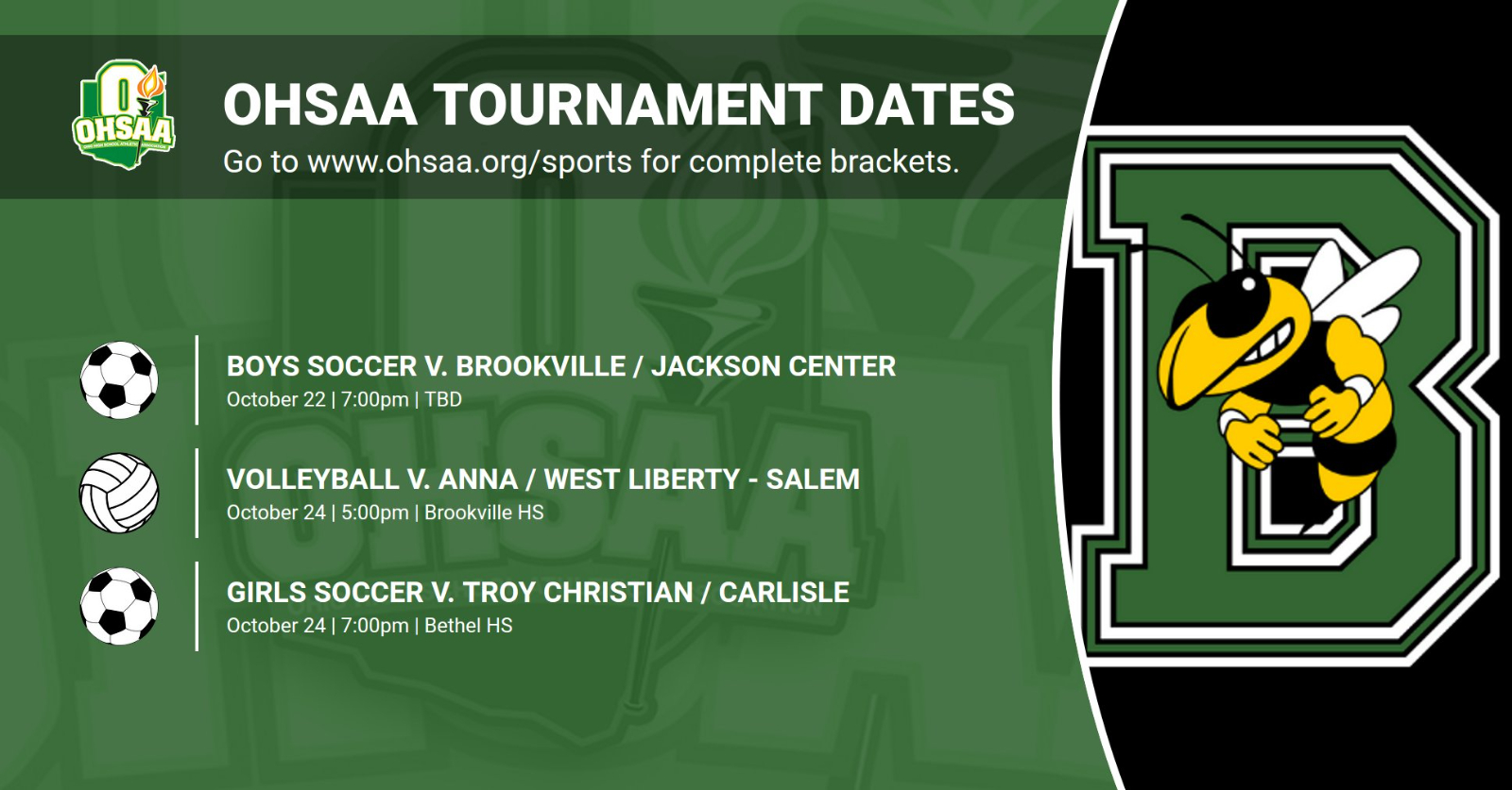 Fall OHSAA Tournaments Set!