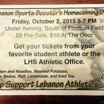 LSBA Hosting Homecoming Dinner before Football game 10/2