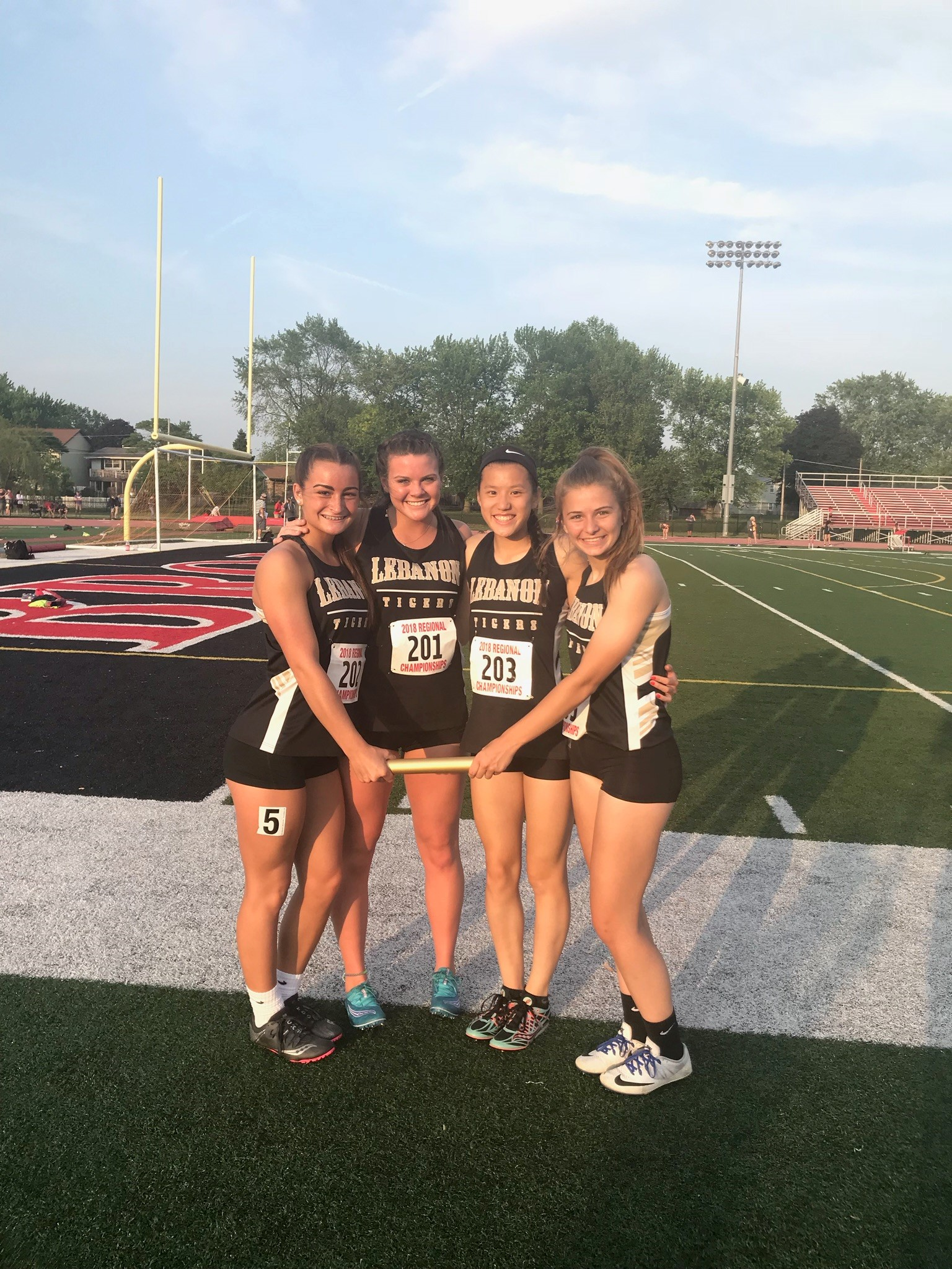 Congratulations to Girls Regional 4×100 Relay Team: Funk, Stogsdill, Trepcos, and Montgomery