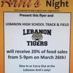 Arni's Fundraiser for Track & Field March 26th 5-9 p.m.
