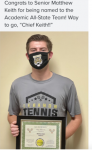 Congrats LHS Senior Tennis Player Matthew Keith: Named Academic All-State