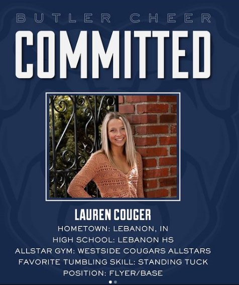 Congrats to LHS Senior Cheerleader Lauren Couger: Selected to Cheer at Butler Next Year!