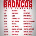 Lake Belton Bronco 2020 Football Schedule