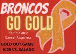 Bronco Volleyball: Broncos Go Gold for Pediatric Cancer Awareness