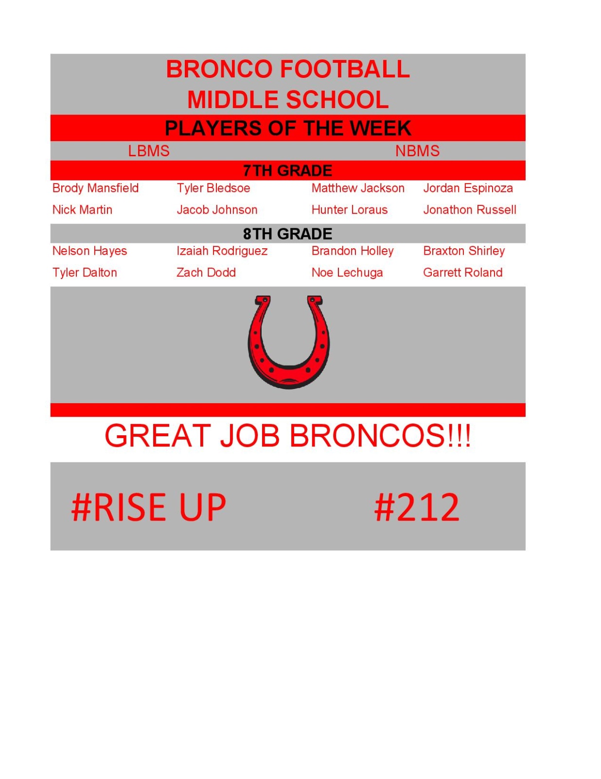 Middle School Bronco Football Players of the Week