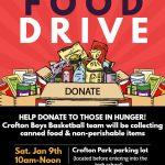 Crofton HS Boys Basketball Food Drive – Saturday, January 9th: 10 am – Noon