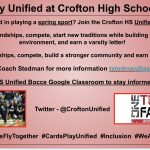 Hey Crofton High, are you interested in playing a spring sport? Join the Crofton High School Unified Bocce Team?