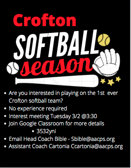 Crofton Softball Program is Looking for Players for the Spring Season