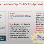 Crofton HS Athletic Leadership Club Equipment Drive – Saturday, March 6