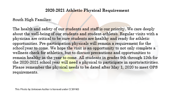 2020-2021 Athletic Physical Requirement