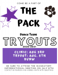 Pack Dance Team Clinic and Tryout Date Announcement