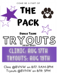 Pack Dance Team Clinic and Tryout-UPDATE 8/5