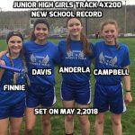 4X200 Junior High Girls Track Sets New School Record