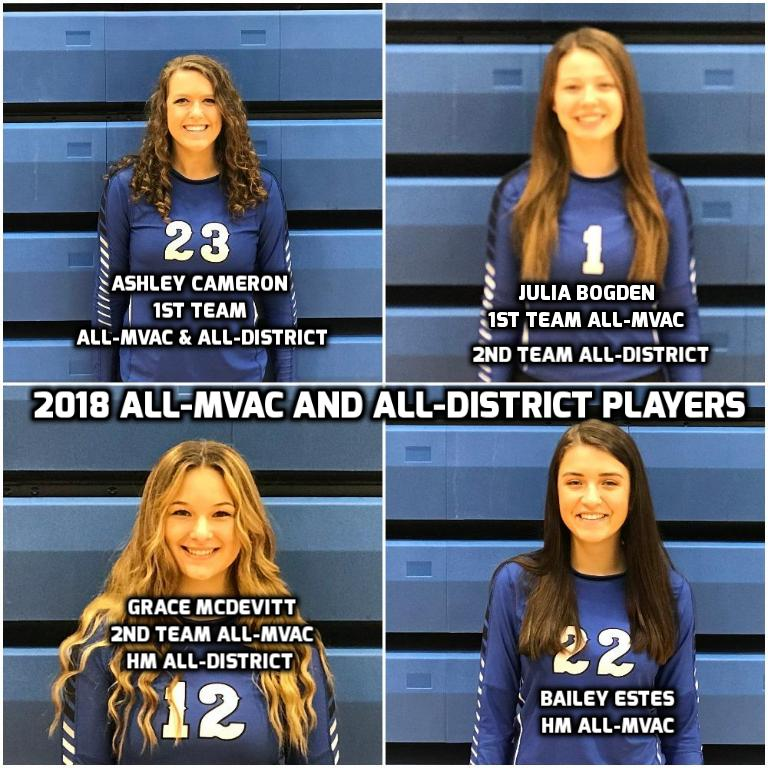 4 Lady Jays Varsity Volleyball Players Earn All-MVAC and All-District Honors