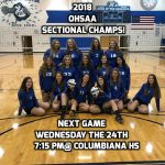 Varsity Volleyball Wins 2018 OHSAA Sectional Championship With Upset of Southern Local High School 3-1