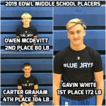 3 Blue Jay Middle School Wrestlers Place at EOWL Tournament