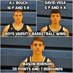 Boys Varsity Basketball Wins 3rd Game of the Year in 53-40 Win Against Southeast High School