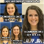 Lady Jays Varsity Basketball Team Defeats Lisbon 44-40 and Advances to 5th Straight District Tournament