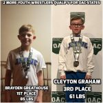 Brayden Greathouse and Cleyton Graham Qualify for OAC Youth State Wrestling Tournament
