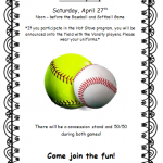Baseball and Softball Community Day on Saturday April 27th,2019