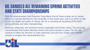 UIL announcement