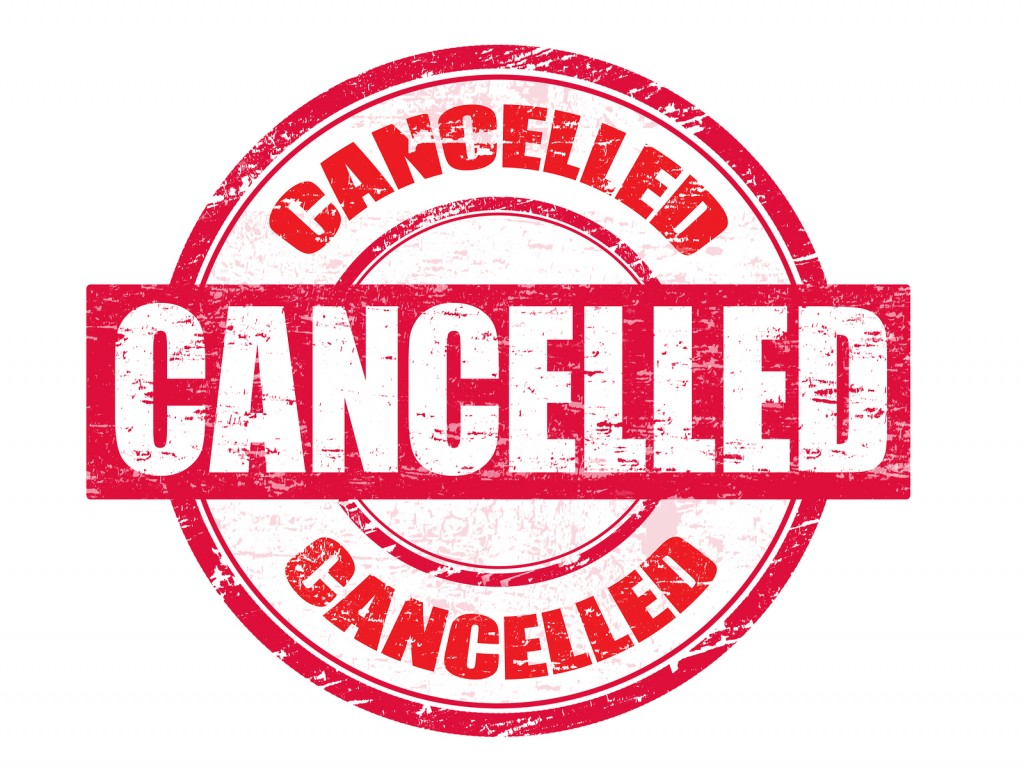 CANCELLED EVENTS – Today Wednesday – 4/24/19