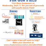 SHOP and DINE for Adzick Field – Wednesday 9/5/2018 – TODAY