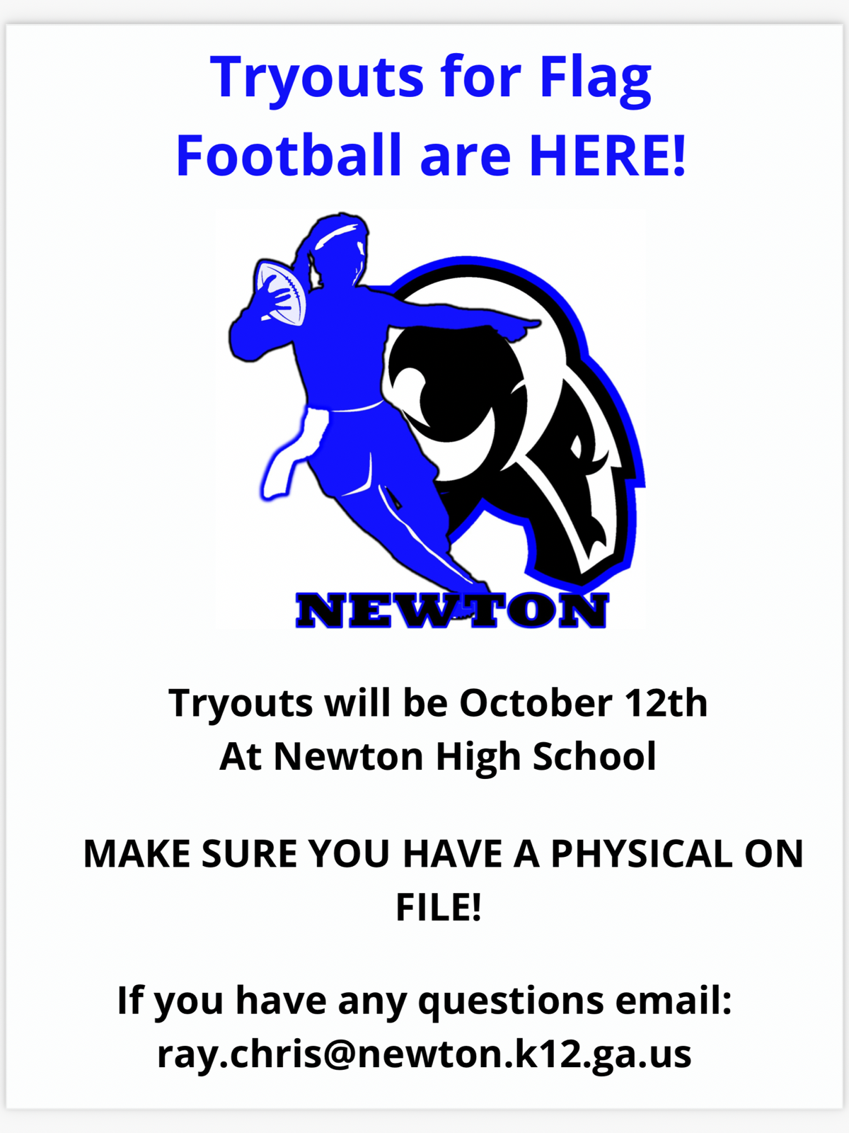 Flag Football Tryouts October 12th