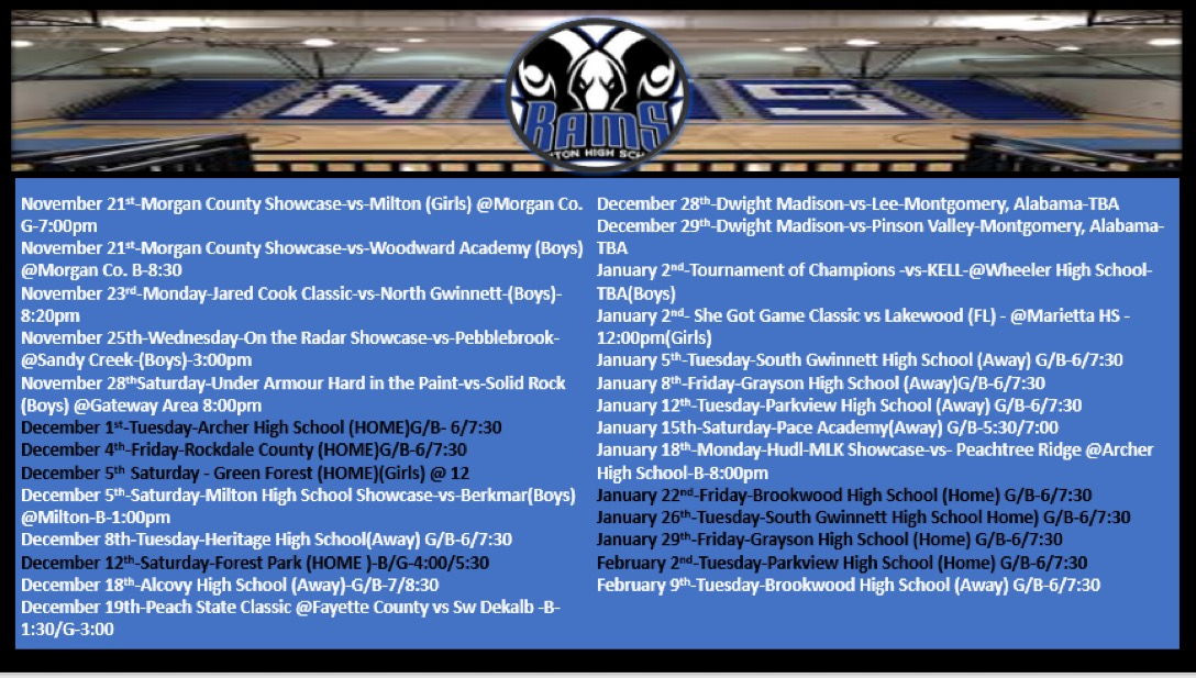 2020-21 Newton Boys and Girls Basketball Schedule