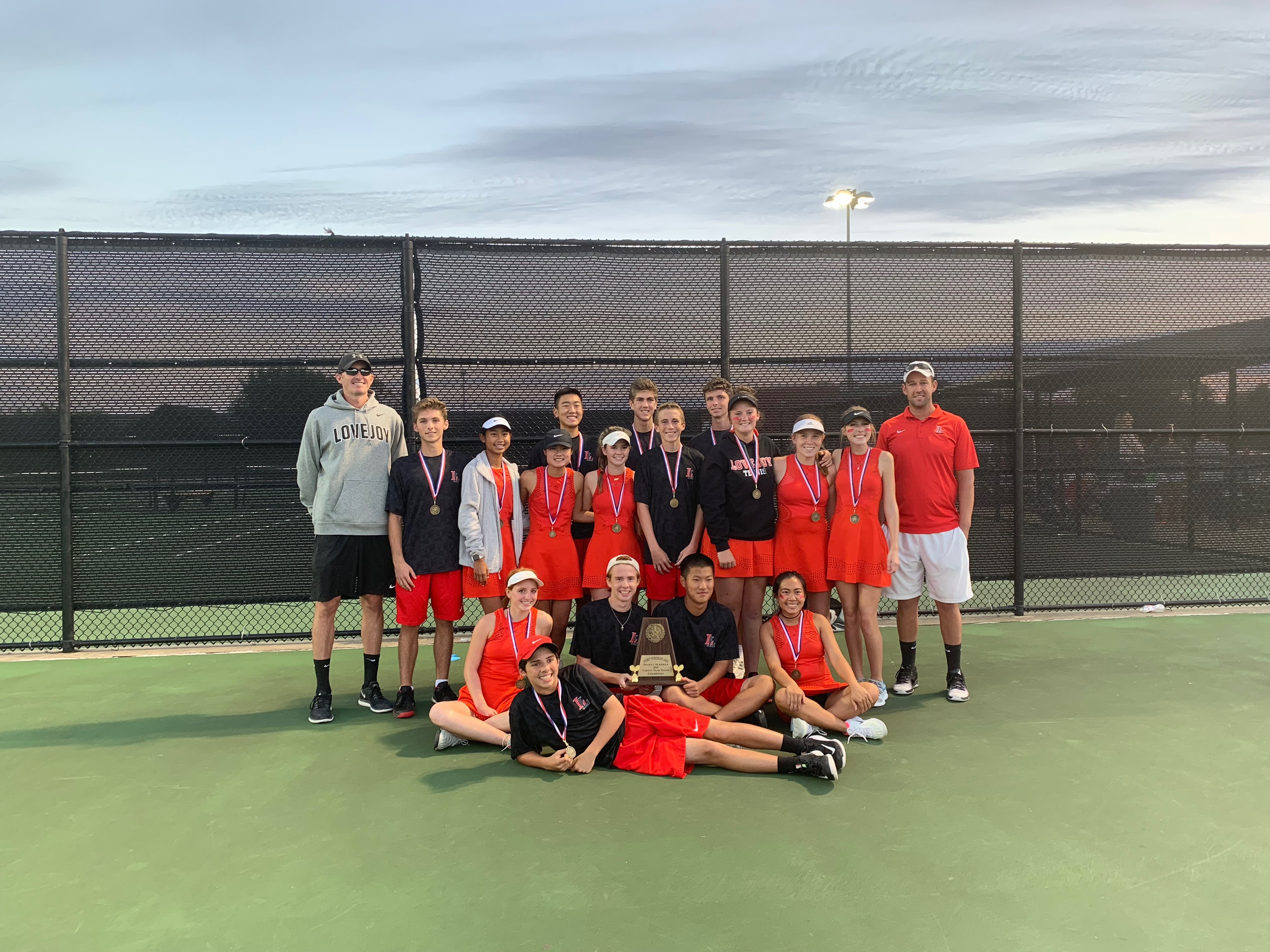 Varsity and JV Tennis are Undefeated District Champs!