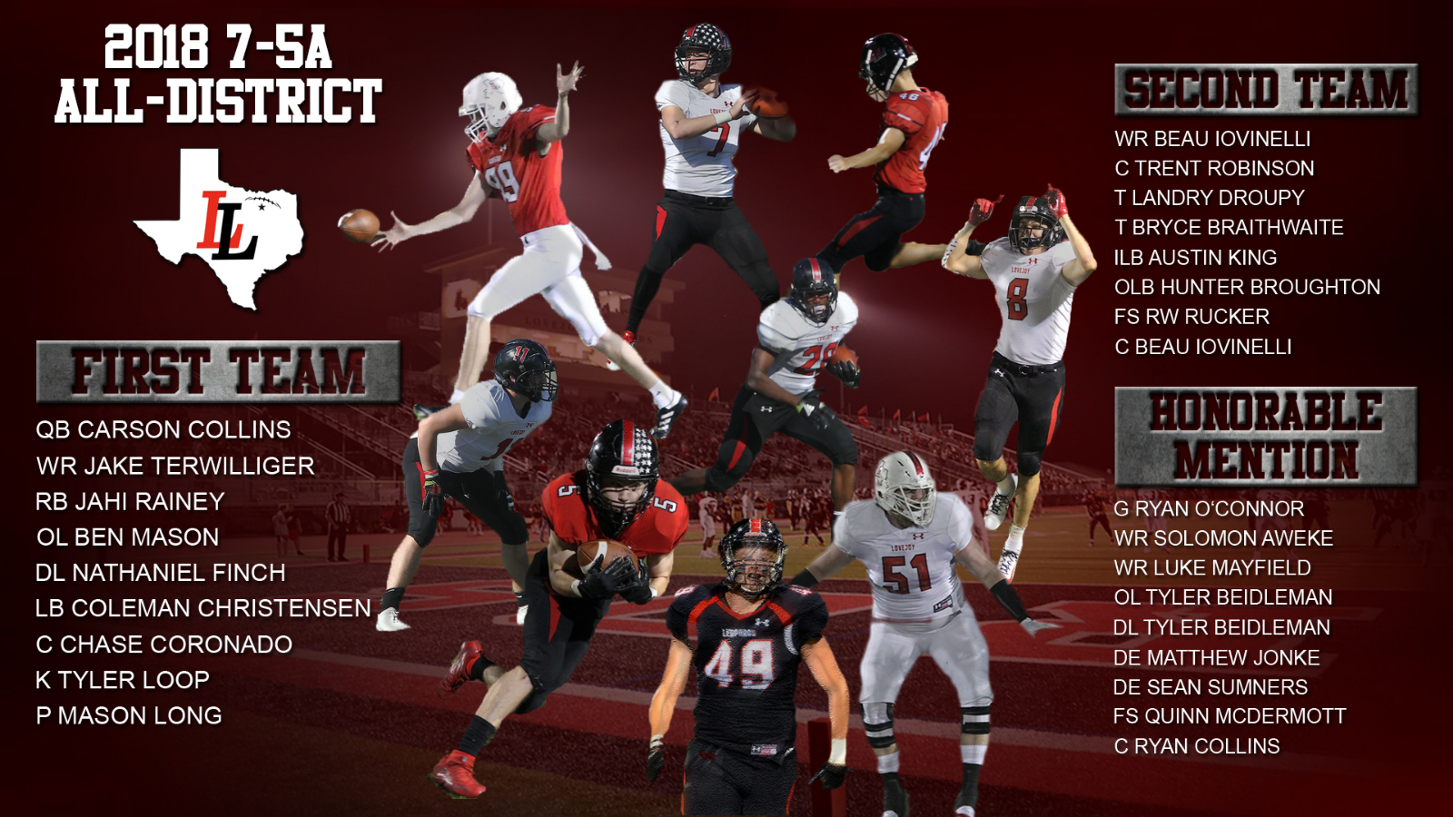 Leopards selected to 2018 7-5A All-District Football Team