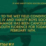 JV & Varsity Boys Soccer Scrimmage Canceled