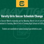 Varsity Girls Soccer Schedule Change