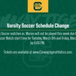 Varsity Soccer Schedule Change