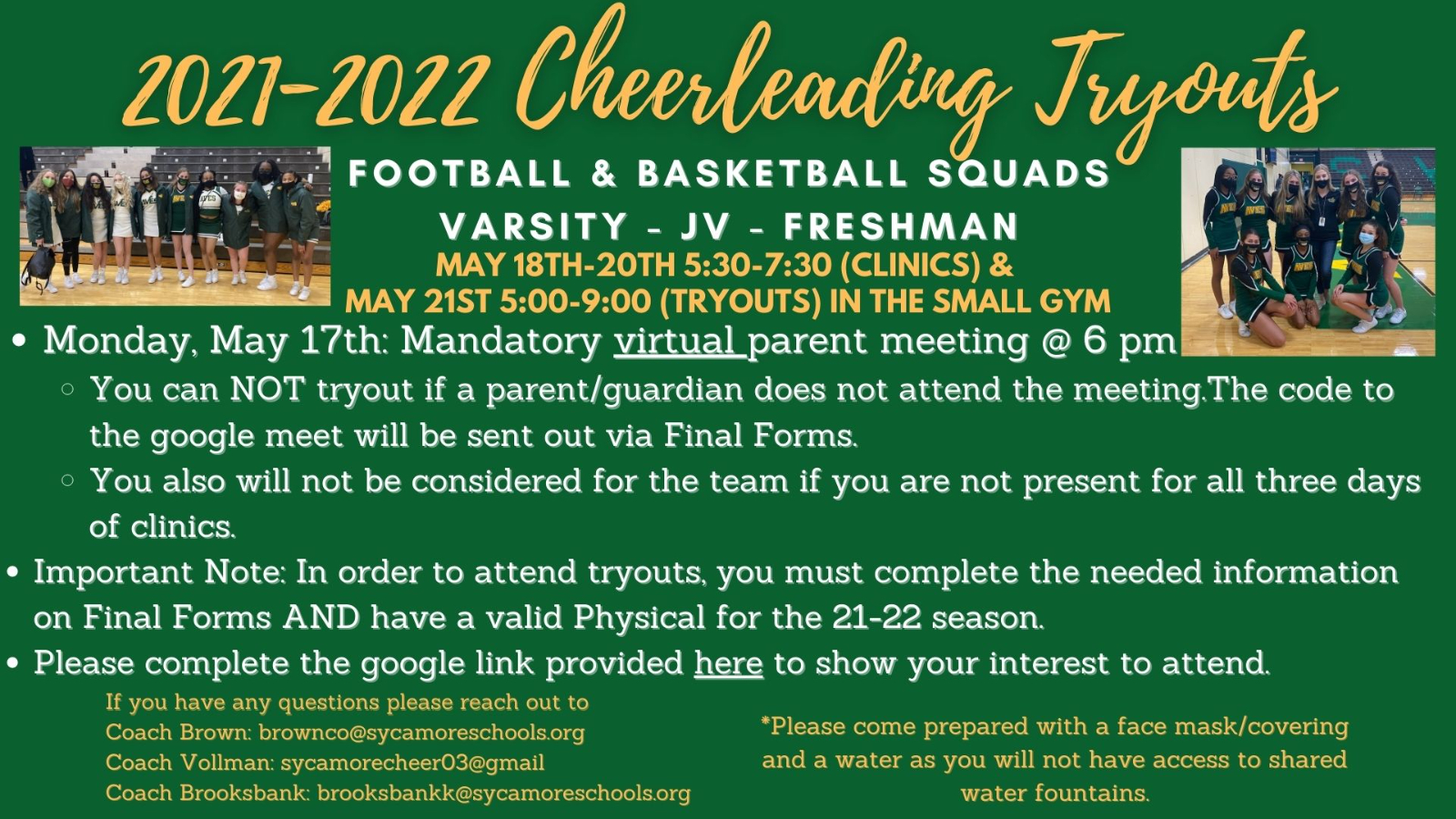2021-22 Cheerleading Tryout Information!