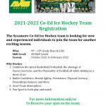 2021-22 Co-Ed Ice Hockey Registration!