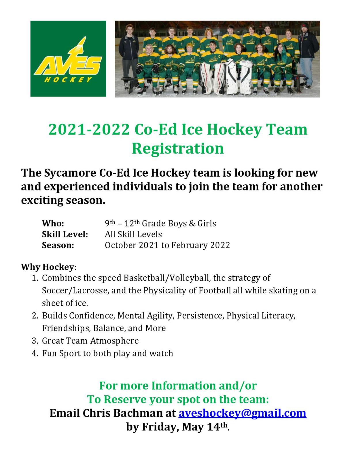 2021-22 Co-Ed Ice Hockey Registration!
