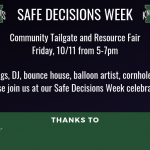 Safe Decisions Week Tailgate