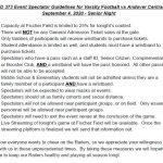 Event Spectator Guidelines for Varsity Football Tonight