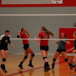 Frankenmuth High School Girls Varsity Volleyball beat Swan Valley, Heritage, St. Louis 2-1