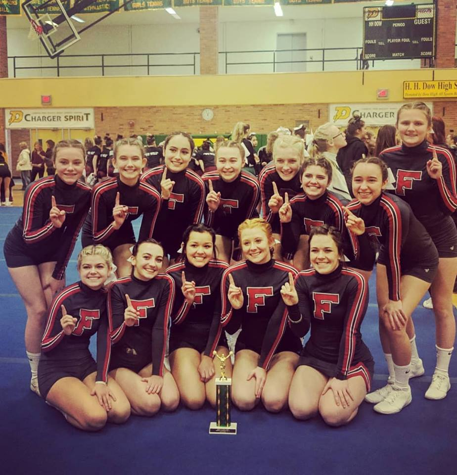 Girls Varsity Competitive Cheer finishes 1st place in Division, 4th overall at Dow High Cheer Invite