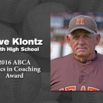 Coach Klontz received 2016 ABCA Ethics in Coaching Award