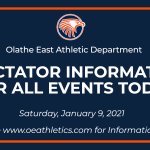 Spectator Information for All Athletic Events Today – January 9, 2021