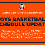 Boys Basketball Schedule Update! JV/Varsity Games vs OS Rescheduled for February 13, 2021
