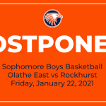 Sophomore Boys Basketball game at Rockhurst POSTPONED