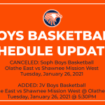 Important Soph/JV Boys Basketball Schedule Changes for Tuesday, January 26, 2021 vs Shawnee Mission West
