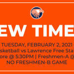 New Times for Fr-A and Soph Boys Basketball Games vs Lawrence Free State on Tuesday, Feb. 2, 2021